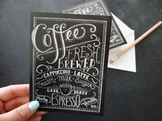Coffee Lover's Card  Hand Lettered Note Card   by LilyandVal, $3.50