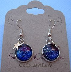 Silver-tone Glitter Glass Star Charm Galaxy Dangle Earrings Blue Purple Teal Hand-painted
