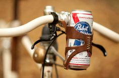 Leather beer cage for bikes