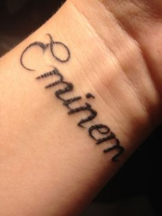 Eminem tattoo <3 I Want This. I Love Eminem His Music Touches The Soul. I don't Listen To Rap, But I Do When It's Eminem ❤ -Summer