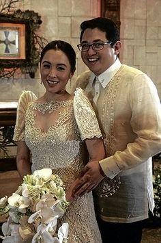 Balintawak at Barong - Traditional Outfit Filipiniana Wedding Theme, Filipiniana Dress, Wedding Gowns, Philippines Dress, Filipino Wedding, Bridal Dresses, Golden Anniversary, Gowns Of Elegance