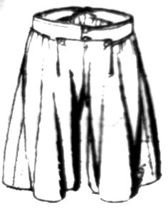 Slops or Skilts: An item generally worn by sailors over breeches for protection. Slops have very wide legs that are gathered at the waist and at the knee.