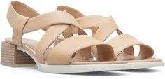 Our Kobo women's sandal adds a modern square heel to a refined silhouette.