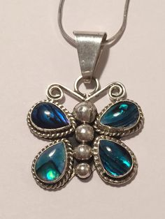 Navajo Abalone Sterling Butterfly Necklace 18 C by BargainBitz
