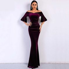 Sexy Off The Shoulder Mermaid Velvet Long Sleeves Prom Dresses 2018 b818a429e2f7