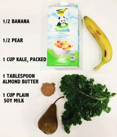 The ingredients? Pear, kale, banana, almond butter, and plain, sweetened soy milk.