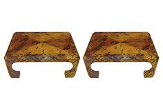 One Kings Lane - Feeling Regal - 1970s Faux-Tortoiseshell Tables, Pair