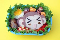 Totally fun bento lunch featuring Coco the Monkey (the TokyoToys mascot).