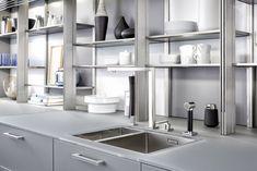 Modern Space-Saving Kitchen Storage and Shelving Ideas Kitchen Units, Red Kitchen, Rustic Kitchen, Kitchen Interior, Kitchen Storage, Kitchen Design, Space Saving Kitchen, Kitchen On A Budget, Open Shelving Units