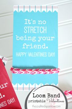 The Crafted Sparrow: Loom Band Printable Valentine
