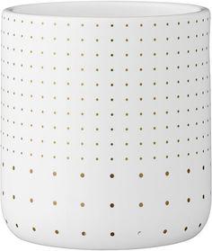 Bloomingville - Bloempot - Ø9,5xH10,5 cm - Wit w/Goud Dots