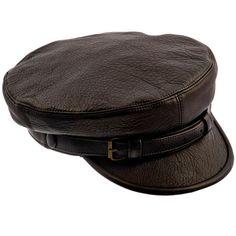 Genuine leather Fiddler Maciejowka dark brown cap. por HatterShop