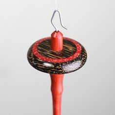 Drop Spindle Black Palm and RedHeart with crushed Red Coral inlay, Natural Finish