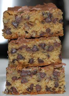 Chocolate Chip Cookie Bars, Chocolate Chip Recipes, Brownie Cookies, Brownie Recipes, Cookie Recipes, Dessert Recipes, Brownie Batter, Chocolate Chips, Bar Cookies