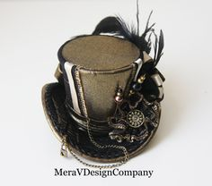 steampunk hats for women | Mini Top Hat, Steampunk, Women Headpiece, Gothic Hat, Mad Hatter Hat ...