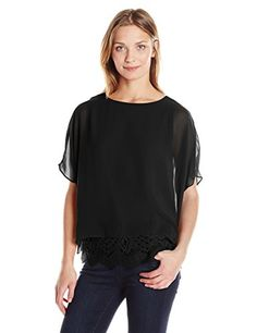 Calvin Klein Womens Chiffon Dolman with Lace Black XLarge ** Want to know more, click on the image.