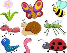 Free Set Of Cute Cartoon Insects Vector Bug Cartoon, Cartoon Garden, Cartoon Drawings, School Painting, Painting For Kids, Art For Kids, Vector Graphics, Vector Free, Image Deco