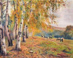 Gemälde Öl Leinwand Marie Seeck Königsberg sign. 1925 Herbst Landschaft 88x73cm