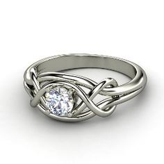 Infinity Knot Ring, Round Diamond Palladium Ring from Gemvara.........so pretty!