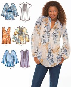 tunic patterns for sewing free | Plus Size TUNIC TOP Sewing Pattern - Peasant Boho Tops - Sizes 14-22