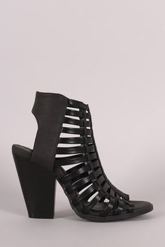 Strappy Cage Tapered Chunky Heel