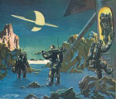 The art of Jack Coggins from the book Rockets, Jets, Guided Missiles & Space Ships