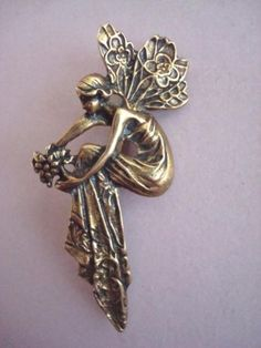 verkopers.marktplaats.nl/7443487 ART NOUVEAU Vintage broche Elfje dame vrouw