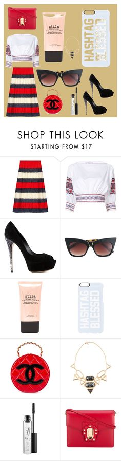 """Simply Stylish..."" by ramakumari ❤ liked on Polyvore featuring Gucci, TIBI, Casadei, Pared, Stila, Private Party, Chanel, Isharya, MAC Cosmetics and Dolce&Gabbana"