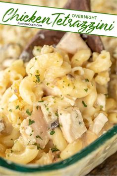 Overnight Chicken Tetrazzini - a new family favorite! It is on repeat in our house! Just dump everything in the casserole dish and refrigerate overnight. No boiling the noodles. They will soften overnight and be cooked to perfection in the finished dish. Chicken, cream of chicken, cream of mushroom, milk, chicken broth, onion, garlic, elbow macaroni, and parmesan cheese. Use a rotisserie chicken for quick prep. Everyone always cleans their plate and asks for seconds! Success! #casserole…