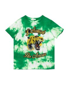 Short-Sleeve Tie-Dye Cotton Tiger Tee, Green, Size 4-12 - Gucci