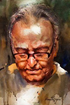 Watercolor portrait man