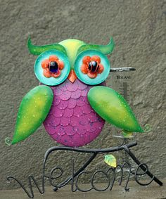 Loving this Pink & Green Owl Tabletop Rain Guage on #zulily! #zulilyfinds