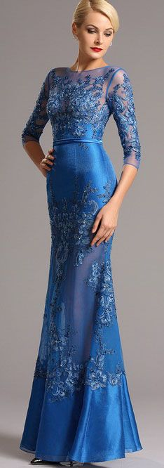 Half sleeves blue lace evening dress!