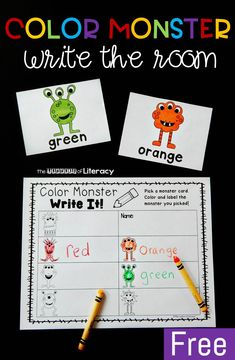 This fun color monster write the room activity makes learning color words even more exciting! Grab the free printable and you have a new writing center that is perfect for kindergarten and first grade kids! Kindergarten Writing Activities, Kindergarten Freebies, Kindergarten Centers, Preschool Literacy, Kindergarten Graduation, Kindergarten Curriculum, Sight Words, Color Words Kindergarten, Color Word Activities