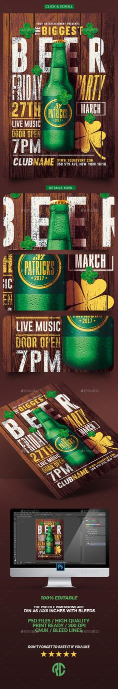 St. Patricks Day | Psd Flyer Template — Photoshop PSD #live music #celtic • Download ➝ https://graphicriver.net/item/st-patricks-day-psd-flyer-template/19539297?ref=pxcr