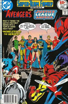 "Super-Team Family: The Lost Issues!: The Avengers and The Justice League of America in : ""Homeless are the Heroes! Old Comic Books, Vintage Comic Books, Vintage Comics, Comic Book Covers, Comic Book Characters, Comic Book Heroes, Comic Character, Dc Comics Vs Marvel, Marvel Comics Superheroes"