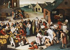 So..... Straw hat over a huik veil.   Suggestion that the pot-lid hat may be made of straw? Pieter Brueghel the Younger, The Works of Mercy