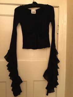 Gothic Vampiric Black Top with frilly bell sleeves by LIPSY | eBay