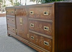 Campaign and Chinoiserie Style Dresser by ExeterFields on Etsy, $895.00