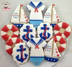 Nautical Baby Baby Boy Cookies, Onesie Cookies, Baby Shower Cookies, Cute Cookies, Boy Baby Shower Themes, Baby Boy Shower, Sailor Theme Baby Shower, Nautical Cake, Nautical Theme