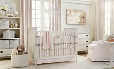 Baby Nursery Celebrities' Baby Nursery Room You Can Get Inspired from: Cute White Baby Nursery Room Idea With Pink And White Color Wall Paint Completed With Bookshelf And Drawer Chest Beautify With Wall Painting Set Decoration White Sofa
