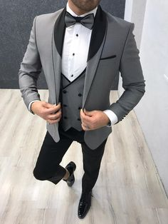 Collection: Spring – Summer 2020 Product: Slim Fit Tuxedo Color Code: Gray Size: Suit Material: satin fabric, lycra Machine Washable: No Fitting: Slim-fit Package Include: Jacket, Vest, Pants Gifts: Flower, Chain and Bow Tie Dry Clean Only Grey Tuxedo, Tuxedo Suit, Tuxedo For Men, Gray Tuxedo Wedding, White Tux, Mens Fashion Suits, Mens Suits, Groom Suits, Groom Attire