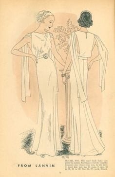 1930s Lanvin evening gown illustration in McCall Style News, January 1936. Image via eBay.