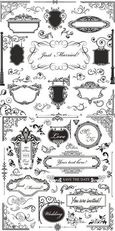 Set of vector vintage ornamental elements with corners and frames in classic style for decorating