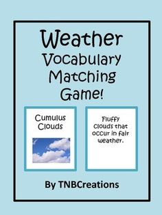 Weather: This printable Weather Vocabulary Matching game is a fun way for your students to learn about weather!  In this product you will receive a total of 92 printable cards. Half of the cards contain a weather related word with a picture, and the other half contains the definition. There are 4 cards per page to be cut out and laminated. The cards could be used as a matching game, the word and definition could be put together for practice, or however you choose! This product also contains…