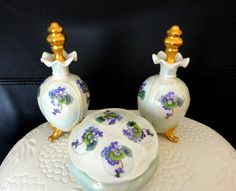 Vintage Iridized Violet Hand Painted Porcelain Dresser Set  2 Perfume Bottles with Daubers  1 Lidded and Footed Hair Collector, Jewelry Dish,