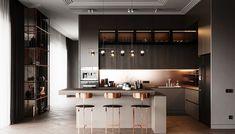 Kitchen-livingroom Goodlife park on Behance Kitchen Room Design, Luxury Kitchen Design, My Home Design, Kitchen Cabinet Design, Küchen Design, Home Decor Kitchen, Interior Design Living Room, Layout Design, Rustic Kitchen