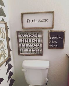 Hand Painted Wood Sign Size: 10x12 Sign Comes With Hook; Copyright JaxnBlvd 2016; Bathroom Decor; Bathroom Ideas; Bathroom Remodel; Bathroom Modern; Bathroom Organization; Bathroom Master; Bathroom Small; Bathroom Storage; Bathroom Colors; Bathroom Design; Farmhouse style bathroom; Separate showers; Wood shelves; floating shelves