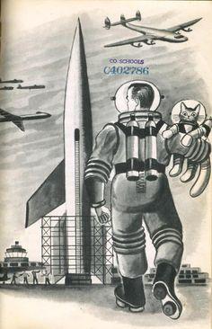 Astronauta con su gato
