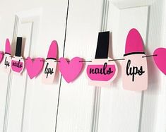 Make Up Garland Spa Party Banner Tween Birthday Girly Birthday Party Decor Bachelorette Party Decor Baby Shower Decor Spa Day Party, Kids Spa Party, Sleepover Birthday Parties, Pamper Party, Barbie Theme Party, Barbie Birthday Party, Girl Birthday Themes, Carnival Birthday, Diy Birthday